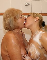 Lesbians at play in the shower and on the bed
