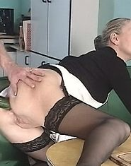 Aged widow ass-fucked with a cucumber and fisted