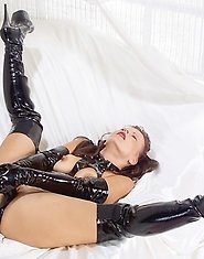 Kinky nanny showing her leather fetish